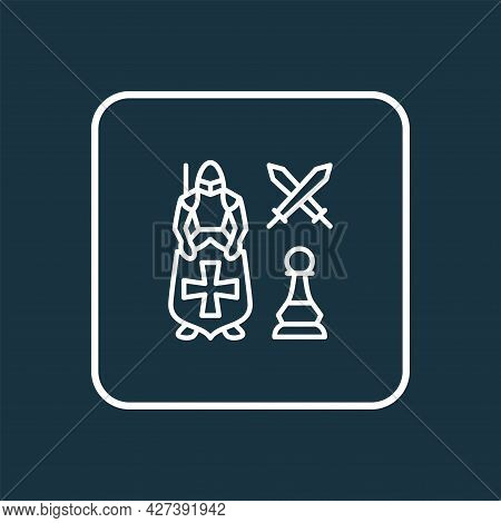 Leadership Icon Line Symbol. Premium Quality Isolated Knight Against Pawn Element In Trendy Style.