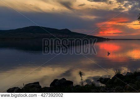 Sunset over Nove Mlyny lake in Palava region, Southern Moravia, Czech Republic