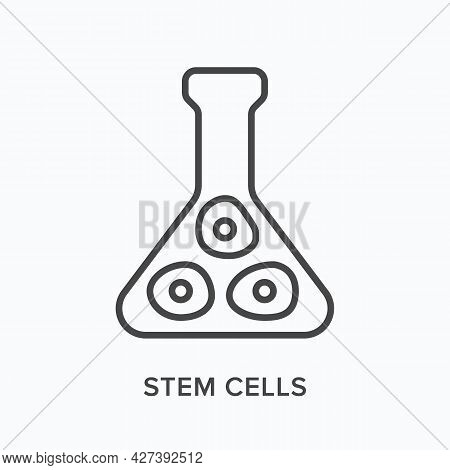Stem Cells Flat Line Icon. Vector Outline Illustration Of Chemical Flask . Black Thin Linear Pictogr