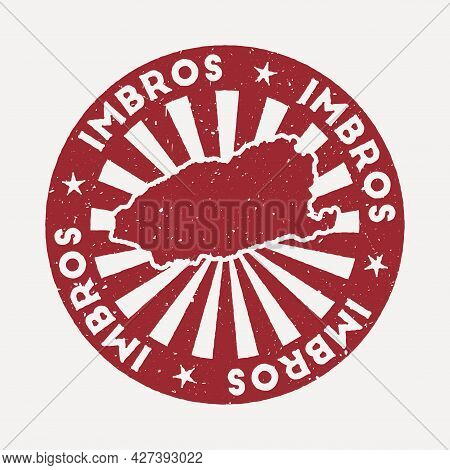 Imbros Stamp. Travel Red Rubber Stamp With The Map Of Island, Vector Illustration. Can Be Used As In