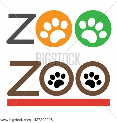 Zoo With Paws Sign Symbol Signboard Logo Emblem Design Element Set.