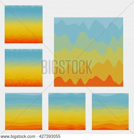 Abstract Waves Background Collection. Curves In Contrast Red Yellow Blue Colors. Modern Vector Illus