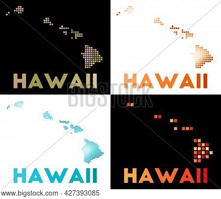Hawaii Map. Collection Of Map Of Hawaii In Dotted Style. Borders Of The Island Filled With Rectangle