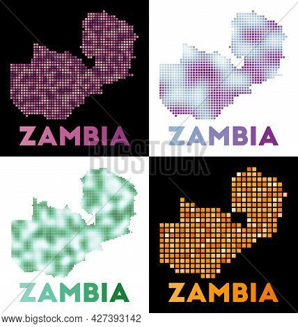 Zambia Map. Collection Of Map Of Zambia In Dotted Style. Borders Of The Country Filled With Rectangl