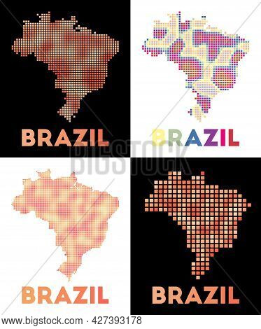 Brazil Map. Collection Of Map Of Brazil In Dotted Style. Borders Of The Country Filled With Rectangl