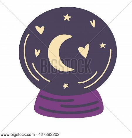 Magic Crystal Ball With Stars. Predicting The Future. Halloween Concept. Fortune Telling. Gothic Des