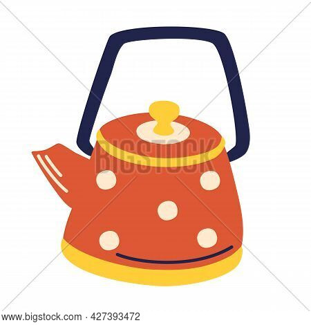 Vintage Red Teapot With Polka Dots. Kitchen Kettle. Trendy Flat Vector Concept Of Steaming Boiling K