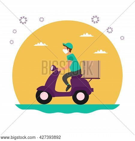 A Food Delivery During The Coronavirus Pandemic. Courier On A Scooter Wearing A Mask And Gloves. Con