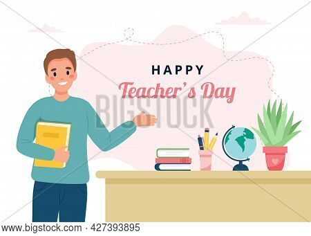 Teachers Day Concept. Teacher In Classroom. Cute Vector Illustration In Flat Cartoon Style