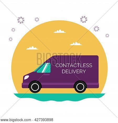 A Food Delivery Van During The Coronavirus Pandemic. Contactless Delivery. The Icon Is A Purple Van