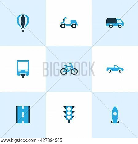 Shipment Icons Colored Set With Pickup, Traffic Light, Road And Other Scooter Elements. Isolated Ill