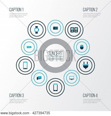 Gadget Icons Colored Set With Computer, Camera, Smart Watch And Other Charger Elements. Isolated Ill