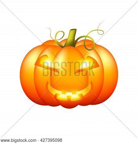 Halloween Pumpkin On White Background. Orange Halloween Pumpkin Lantern. Isolated Object. Vector Car