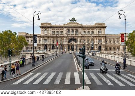 Rome, Italy - October 2019: Building Exterior Of The Palace Of Justice Or The Palazzaccio That House
