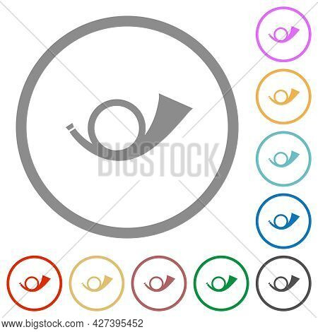 Postal Round Horn Solid Flat Color Icons In Round Outlines On White Background