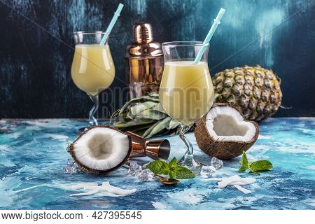 Caribbean Pina Colada Cocktail With Coconut Milk, Rum And Pineapple Juice