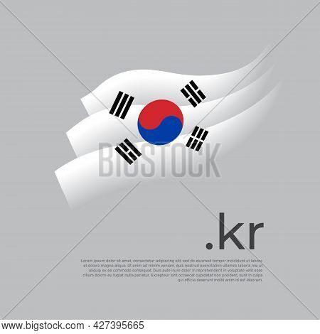 South Korea Flag Watercolor. Stripes Colors Of The South Korean Flag On A White Background. Vector S