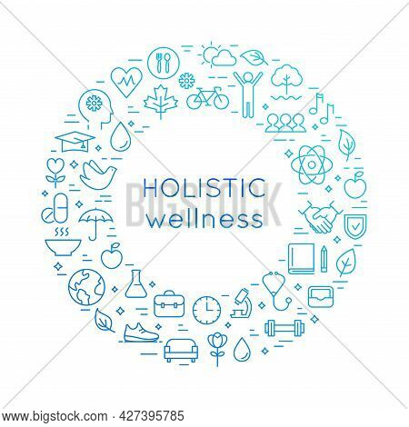 Holistic Wellness Line Round Illustration. Health, Lifestyle And Healthcare Approach Concept. Vector