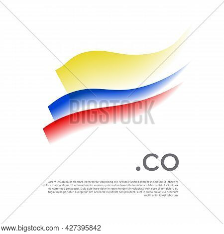 Colombia Flag Watercolor. Stripes Colors Of The Colombian Flag On A White Background. Vector Stylize