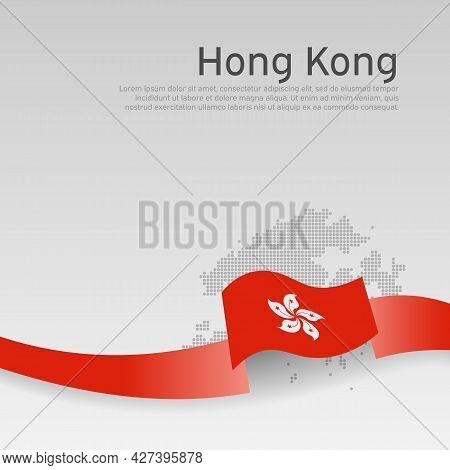 Hong Kong Flag, Mosaic Map On White Background. Wavy Ribbon With The Hong Kong Flag. Vector Banner D