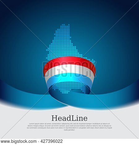 Luxembourg Flag, Mosaic Map On Blue White Background. Wavy Ribbon With The Luxembourgish Flag. Vecto