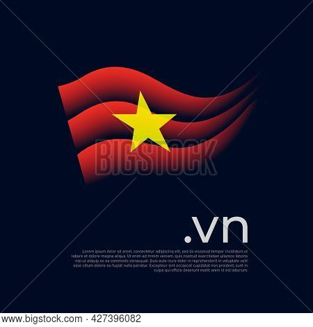 Vietnam Flag. Colored Stripes Of The Vietnamese Flag On A Dark Background. Vector Stylized Design Of