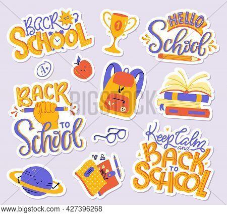School Sticker Pack - Books, Copybooks, Backpack, Planet, Apple, Glasses, A Plus Grade Mark, Cup. Ba