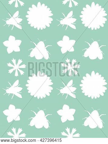 Vector Seamless Pattern Of White Hand Drawn Flowers And Bee Bumblebee Insects Silhouette Isolated On