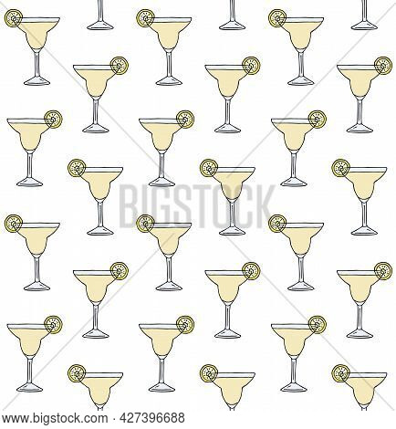 Vector Seamless Pattern Of Colored Hand Drawn Doodle Sketch Margarita Cocktail Isolated On White Bac