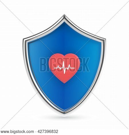 Medical Health Protection Shield With Heart Icon With Heartbeat Line. Healthcare Medicine Protected
