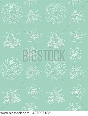 Vector Seamless Pattern Of White Hand Drawn Doodle Sketch Flowers And Bee Bumblebee Insects Isolated