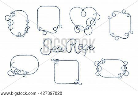 Set Of Rope Frames. Vector Illustration Template Without Background. Nautical Rope In Blue Color Iso