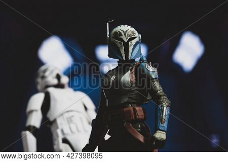 JULY 20 2021: Disney Plus Star Wars The Mandalorian Bo Katan Kryze and armor battles Imperial stormtroopers - Hasbro action figure