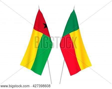 National Fabric Flags Of Benin And Republic Of Guinea Bissau Isolated On White Background. 3d Render