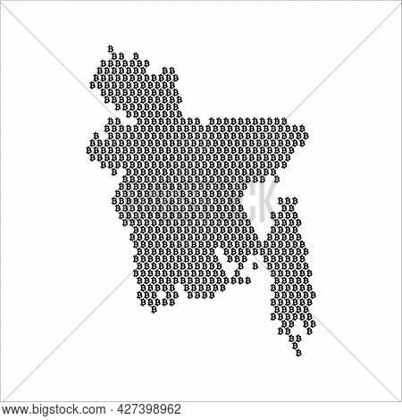 Bangladesh Country Map Made With Bitcoin Crypto Currency Logo