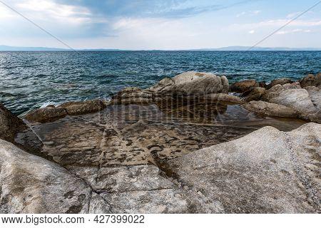 Natural Sea Water Pond In A Rock - Aegean Sea Coast Landscape With Aquamarine Water. Seascape Of Roc
