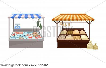 Street Market Stall And Stand With Awning And Various Products Like Condiment And Fish Vector Set