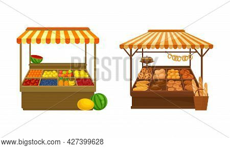 Street Market Stall And Stand With Awning And Various Products Like Fruit And Bread Vector Set