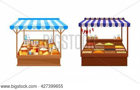 Street Market Stall And Stand With Awning And Various Products Like Condiment And Dairy Vector Set