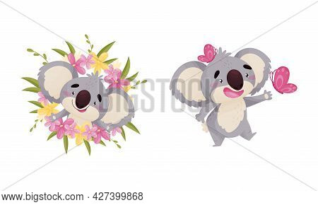 Cute Gray Koala Bear In Flowers And Catching Butterfly Vector Set