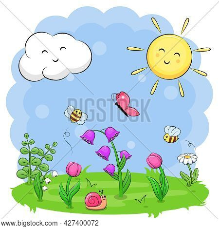Cute Cartoon Landscape With Flowers, Bees, Butterfly, Snail, Sun And Cloud. Spring Vector Illustrati
