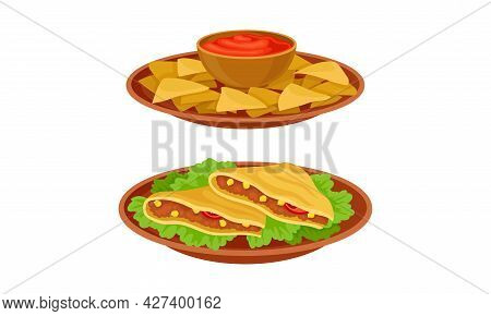 Crunchy Nacho With Sauce And Quesadilla With Savory Filling Vector Set