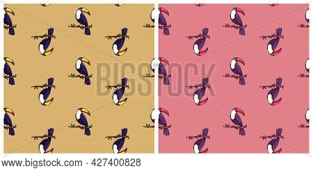 Seamless Pattern With Toucan Birds. Simple Exotic Print.  Cute Vector Illustration. Isolated. South