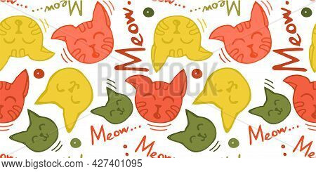 A Seamless Pattern With The Contour Of Cat Faces And The Word Meow In Bright Children's Colors. For