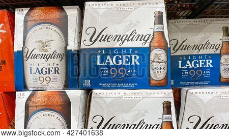 Cases Of Bottles Of Yuengling Traditional Lager At A Sams Club Store Waiting For Customers To Purcha
