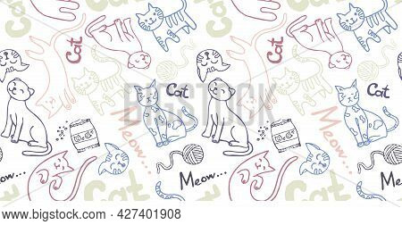 Seamless Pattern With The Contour Of Domestic Kittens And Cat Faces, Cat Food, Tangles For Games. Fo