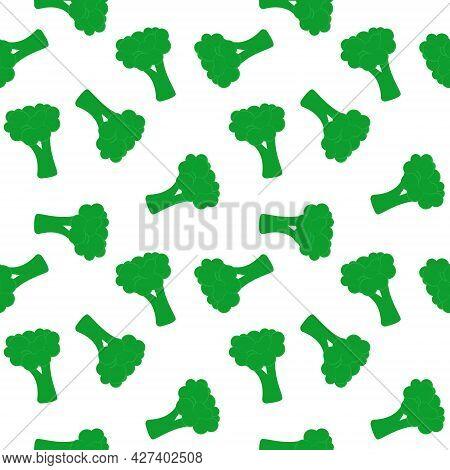 Green Broccoli Seamless Pattern, Vector Illustration. Vegetables Randomly. Wholesome Healthy Organic