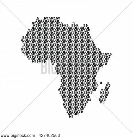 Africa Country Map Made With Bitcoin Crypto Currency Logo