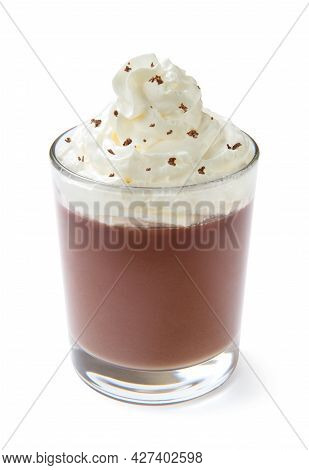 Milk Chocolate Pudding With Whipped Cream In A Glass, Isolated On A White Background. Close-up.