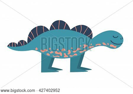 A Dinosaur Stegosaurus Is Isolated On A White Background. Dino In Cartoon Flat Style. Single Vector